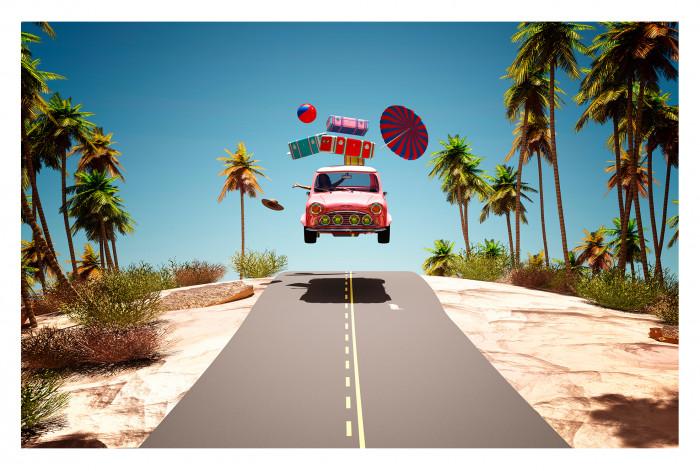 Модульная картина Дорога в отпуск из 3 частей